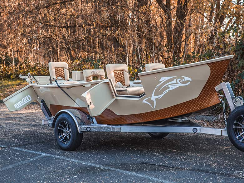 Tan and Brown Warrior Drift Boat